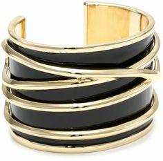 Belle Noel Black Enameled Gold Thread Bangle Bracelet on shopstyle.com