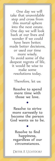 President Uchtdorf New Years Resolutions