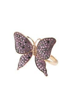 Effy Jewelry Jardin Pink Sapphire and Black Diamond Butterfly Ring