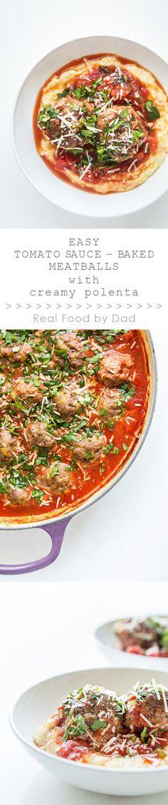 Easy Tomato Baked Meatballs with Polenta