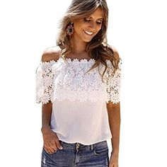 Doinshop Loose Women Off Shoulder Tops Lace Crochet Blouse Shirt Tee >>> Learn more by visiting the image link.