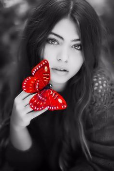 Butterfly girl by Jovana Rikalo - Photo 126012485 / Papillon Butterfly, Red Butterfly, Butterfly Kisses, Madame Butterfly, Color Splash, Color Pop, Red Color, Splash Photography, Black And White Photography