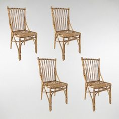 Dutch Rattan Dining Chairs, Set of 4