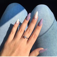 Have you found your nails lack of some fashionable nail art? Sure, recently, many girls personalize their nails with beautiful … Edgy Nails, Stylish Nails, Trendy Nails, Swag Nails, Best Acrylic Nails, Acrylic Nail Designs, Taupe Nails, Matte Purple Nails, Pastel Nails