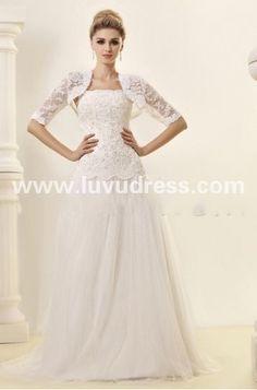 Fabulous A-line Strapless Floor-length Sweep Train Lace Dasha's A-Line Wedding Dress
