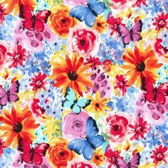 Michael Miller House Designer - Garden Party - Big Bang Blooms in Multi