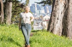 Graphic tee and jeans outfit.  The Thursday: Jeans + tee + go-to cardigan | Non Basic Blonde