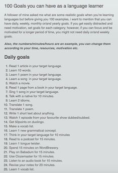 100 Goals you can have as a language learner goals for learning. - jpn - 100 Goals you can have as a language learner goals for learning a language - Learning French For Kids, Learning Italian, Learning Spanish, Spanish Activities, Spanish Class, Teaching French, Life Hacks For School, School Study Tips, Learn French Beginner