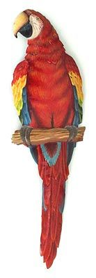 """Metal Art Parrot - Painted Metal Scarlet Macaw Wall Hanging - Tropical Decor - 8"""" x 26&quot ; - View at www.TropicAccents.com"""