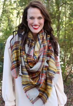 Walker Plaid Blanket Scarf-Gray/Mustard