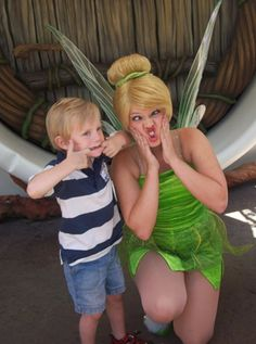 Make a silly face.  Meeting a Disney Character doesn't have to be serious business.