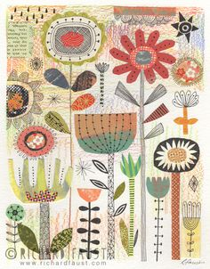 ©Richard Faust - 'Garden' collage on paper. www.richardfaust.com