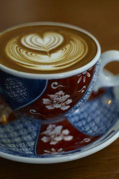 A cup of coffee at Komorebi Café in the pottery capital, Arita.
