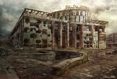This HD wallpaper is about abandoned building illustration, kaliningrad, apocalypse, ruined, Original wallpaper dimensions is file size is Post Apocalypse, Apocalypse World, Apocalypse Aesthetic, Post Apocalyptic City, Ruined City, Dystopian Future, Building Illustration, Digital Art Gallery, City Wallpaper