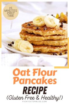 How about a healthy breakfast for you and your kids? Try out this healthy breakfast recipe. It is so easy to make, you can make them quickly with your kids. You can pair this with your vegan honey for that perfect breakfast pancake. This is loaded with oats and bananas, for texture and taste, as well as protein and fiber. This vegan breakfast is a great way to start your day. #pancakerecipeeasy #healthybreakfastideas #glutenfreepancakes #veganbreakfast Healthy Oat Pancakes, Oat Flour Pancakes, Gluten Free Pancakes, Breakfast Pancakes, Healthy Breakfast Recipes, Vegan Breakfast, Healthy Toddler Snacks, Easy Snacks, Healthy Carbs