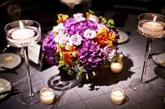 Florist for wedding couples and events in Chicago. Exquisite Designs provides custom flower arrangements and event design services. Event design services include lighting and draping. Orange Wedding Flowers, Purple Wedding, Wedding Reception Centerpieces, Wedding Decorations, Hortensien Arrangements, Chicago Florist, Wedding Inspiration, Wedding Ideas, Wedding Stuff