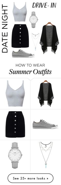 """Casual outfit"" by hettie-leia on Polyvore featuring Miss Selfridge, Converse, Topshop, DateNight, drivein and summerdate"