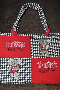 Alabama Houndstooth Patchwork Purse small by grannybeescreations, $20.00