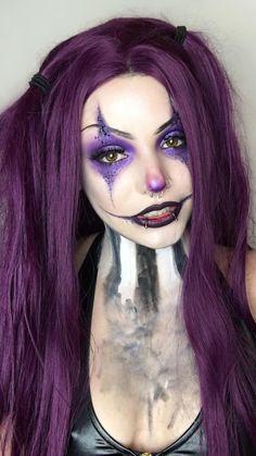 Jester Makeup, Creepy Clown Makeup, Clown Halloween Costumes, Cute Halloween Makeup, Witch Makeup, Purple Halloween, Pretty Halloween, Girl Clown Makeup, Clown Costume Women