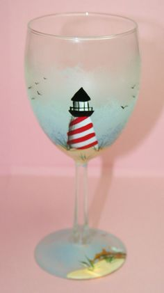 Hand Painted Wine Glass Lighthouse by BrushStrokeBoutique