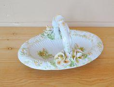 Vintage Porcelain Basket with flowers Hand by JudysJunktion, $20.00
