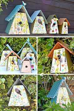 Fabric Birdhouses -Make these gorgeous birdhouses to decorate your home with fabric scraps.  Free template.