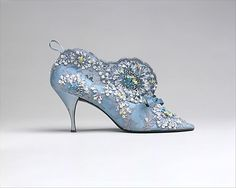 "Evening Boots, Roger Vivier (French, 1913–1998) for the House of Dior (French, founded 1947): 1957, French, silk/leather/cotton/plastic/glass.    Marking: [imprint] ""Christian Dior/Roger Vivier"""