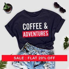 Coffee and adventure Shirt - Camping Shirt - Mountains Shirt - Adventure Tees - Travel Shirt - Coffee Shirt - Cabins Shirt - graphic tshirt by thecozyapparel