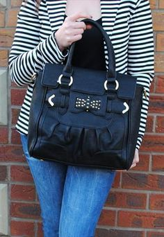 LYDC Black Stud Bow Tote Bag from Bag Envy