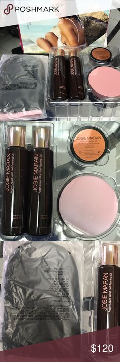 Josie Marian self tanning collection. BRAND NEW BRAND NEW! Radiant argan liquid gold self tanning oil and whipped body butter collection. 5 piece set.   Great rates and reviews! I personally love this product. Other