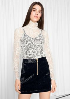 183d51984c Love this floral lace turtle neck blouse! Metallic Look