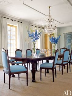 The Shyamalans purchased the dining table and chairs in South Africa and upholstered the latter in a Duralee fabric | archdigest.com