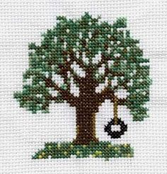 I really like this cross stitch pattern for a tree with a tire swing hanging from it. It reminds me of relaxing summer d Cross Stitch Tree, Beaded Cross Stitch, Modern Cross Stitch, Cross Stitch Flowers, Cross Stitch Designs, Cross Stitch Embroidery, Cross Stitch Patterns, Summer Trees, Cross Stitch Pictures