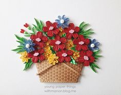 Basket of Flowers - Quilled by: Young Paper Things with Manon