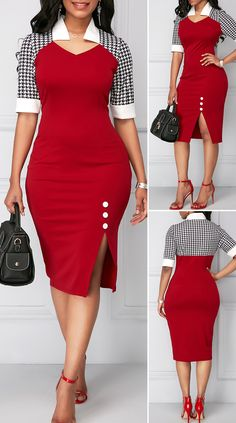 Side Slit Houndstooth Print Button Detail Dress HOT SALES beautiful dresses, pretty dresses, h Short African Dresses, Latest African Fashion Dresses, Women's Fashion Dresses, Sexy Dresses, Classy Work Outfits, Classy Dress, Elegant Dresses For Women, Half Sleeve Dresses, Outfits Dress