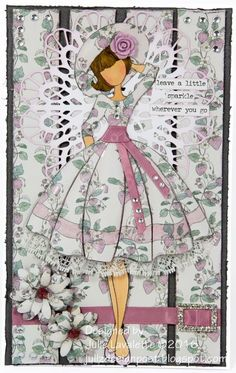 Juliz Design Post : Leave a Little Sparkle Prima Paper Dolls, Prima Doll Stamps, Hand Made Greeting Cards, Greeting Cards Handmade, Audrey Doll, Ribbon Embroidery Tutorial, Dollar Store Crafts, Handmade Birthday Cards, Scrapbook Paper Crafts