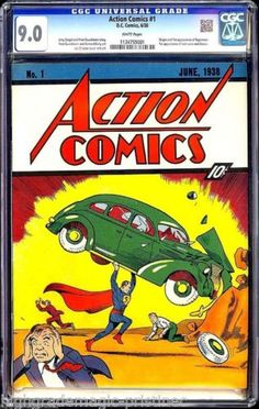 Action Comics #1 (June 1938) Superman's Debut, CGC 9.0 - Perfect White Pages. Sold on eBay on 24 August, 2014 for $3,207,852.00 with 48 bids.
