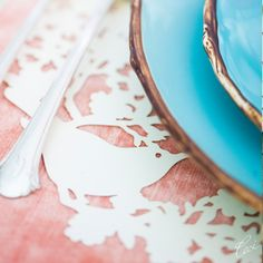 Vivre Collection Lasercut Place Mats Opal Spring - delicate bird & flower motif.