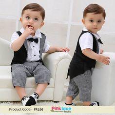 Baby Boys Tuxedo Romper, Gentleman Style Newborn Baby Romper for Wedding, Infant Boy Summer Clothes Set, Little Boy Dress Suit for Birthday