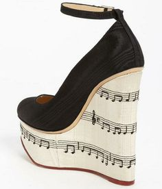 music note shoes to match my tattoo Dream Shoes, Crazy Shoes, Charlotte Olympia, Shoe Boots, Shoes Heels, Pumps, Cute Shoes, Me Too Shoes, Wedge Heels