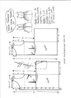 Esquema de modelagem de vestido chamisier tamanho 38.
