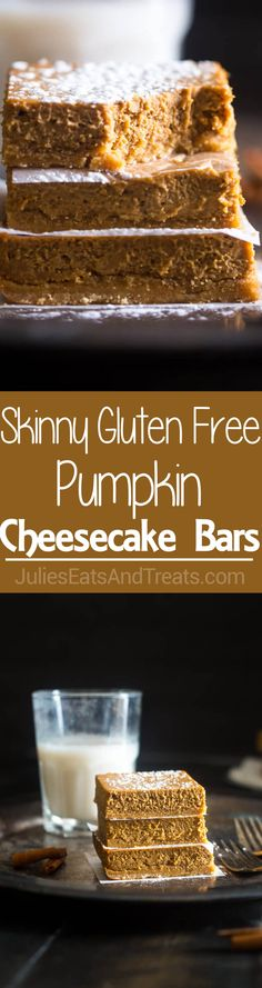 Skinny Gluten Free Pumpkin Cheesecake Bars - These easy pumpkin cheesecake bars have a spicy-sweet gluten free crust and are so creamy! You'd never know they're only 150 calories! Ww Desserts, Sugar Free Desserts, Gluten Free Desserts, Healthier Desserts, Healthy Sweets, Holiday Desserts, Healthy Baking, Pumpkin Cheesecake Bars, Healthy Cheesecake