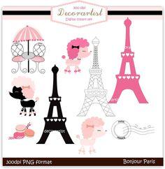 French poodle digital clip art, bonjour Paris,