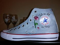 """""""Visit my Etsy Page :DRAWINGSBYBOBA to custom order your very own HAND PAINTED High Top Converse! !!! This pair will have 4 different Disney movies !!!!…"""""""