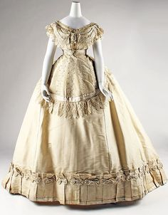 Evening dress Date: ca. 1867 Culture: French Medium: silk Accession Number: C.I.45.68.8a–c
