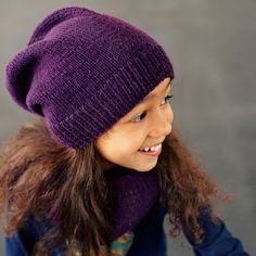 7aee4115ea8 Hand knitted slouchy hat for children. 100% baby alpaca wool. Soft alpaca  wool