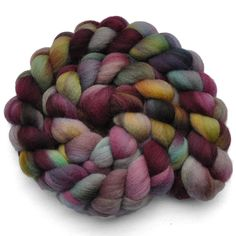 Handpainted roving - VIOLETTA - Falkland wool spinning fiber, 4.1 ounces. $12.30, via Etsy.