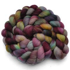 Handpainted roving - VIOLETTA - Falkland wool spinning fiber, 4.1 ounces. $12.30, via Etsy.