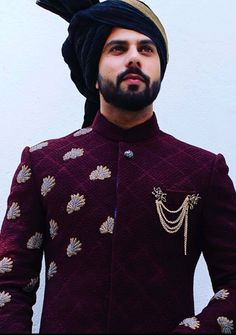 Exquisite handcrafted Zardozi motifs on a Textured Burgundy Wine Sherwani. Quintessential JM man for Wedding Season Indian Groom Dress, Wedding Dresses Men Indian, Groom Wedding Dress, Wedding Men, Casual Wedding, Indian Weddings, Farm Wedding, Wedding Couples, Trendy Wedding