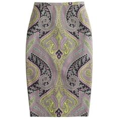 Petite long No. 2 pencil skirt in sovereign paisley via Polyvore